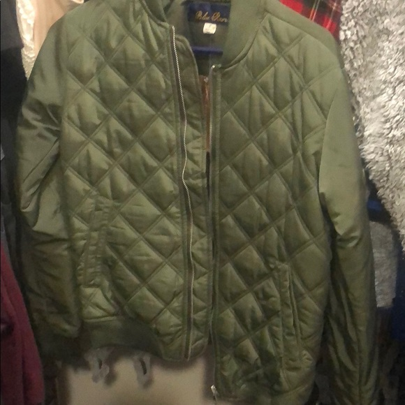 5069e01d17408 Blue Rain Jackets & Coats   Ladies Olive Green Quilted Bomber Jacket ...